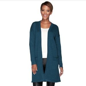 H by Halston Silk-Cashmere Blend Cardigan Small